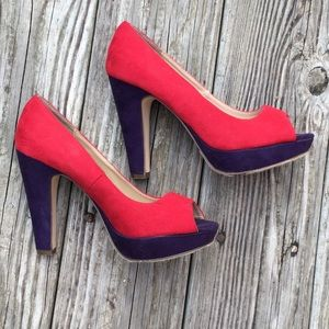 Bright and unique red and purple heels